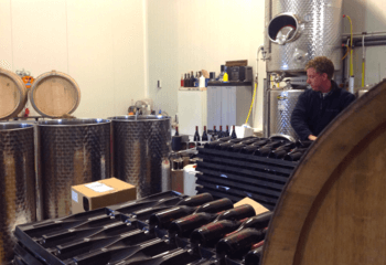 Winemaker Diederik Beker at work in the cellar